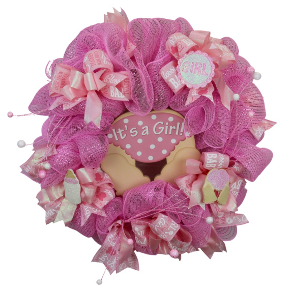 Baby Girl Door Wreath