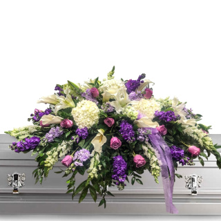 Purple and White Casket