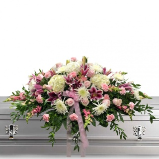 Pink Mum and Lily Casket Spray