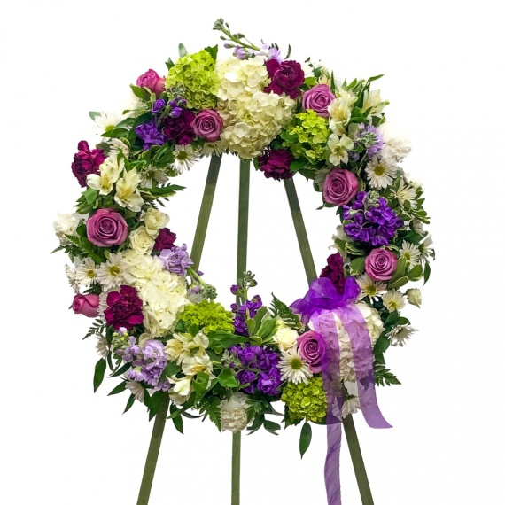 Purple and White Wreath