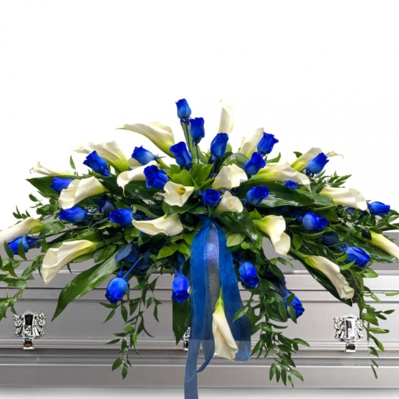 Blue Roses and Calla Lily Casket Spray
