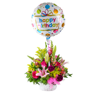 Birthday Basket with Balloon