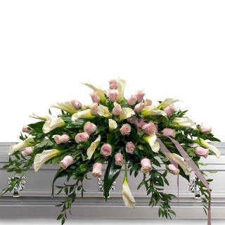 Pink Roses and Calla Lily Casket Spray