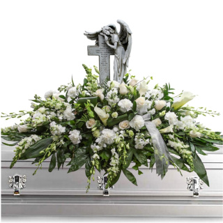 Angel Cross Casket Spray
