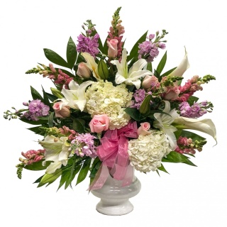 Pink and White Pedestal Arrangement