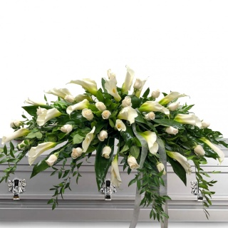 White Roses and Calla Lily Casket Spray